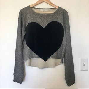 Laugh Cry Repeat terry sweatshirt with suede heart